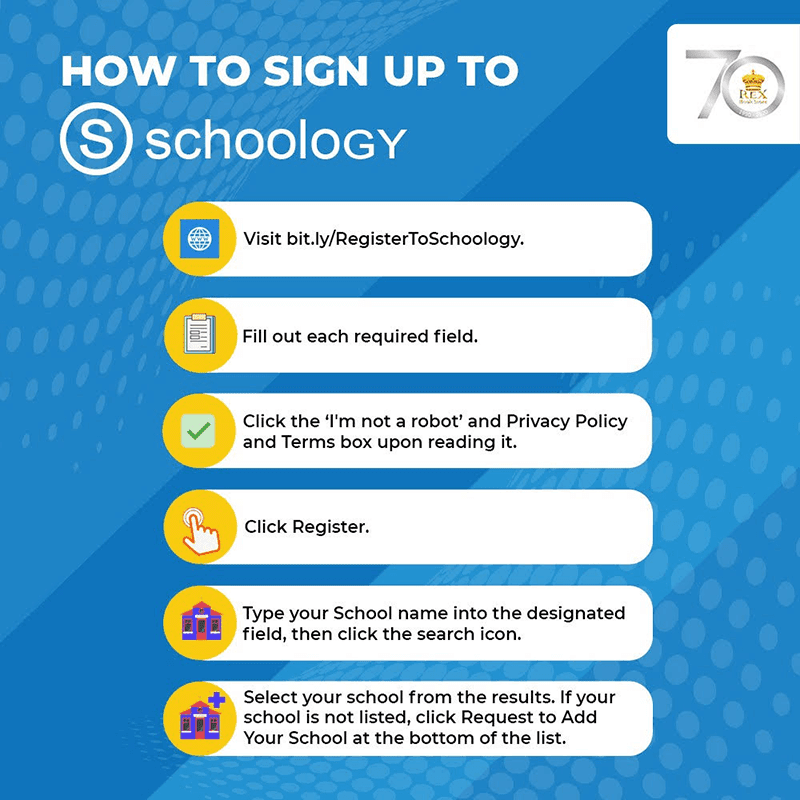 Step by step process of signing up to Schoology