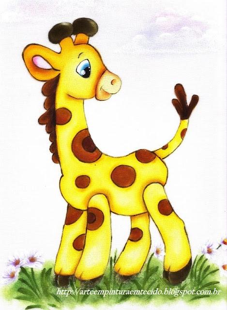pintura em tecido girafa infantil