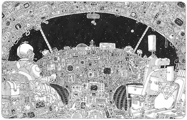 a Mattias Adolfsson drawing of an astronaut