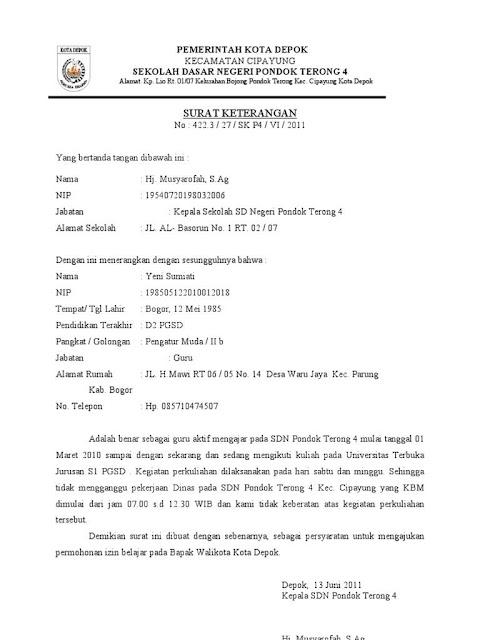 contoh surat izin kuliah dari kepala sekolah
