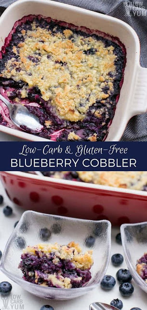 Easy Low Carb Gluten Free Blueberry Cobbler Dessert