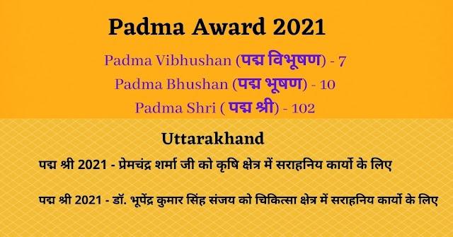 Uttarakhand's Prem Chandra Sharma and Dr. Bhupendra Kumar Singh Sanjay को मिलेगा Padma Award 2021
