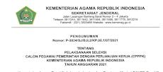 Pengumuman, Rincian Formasi dan Persyaratan Seleksi PPPK Kemenag Tahun 2021