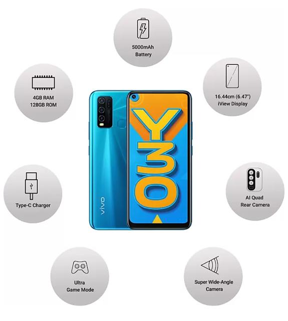 Vivo Y30 4GB रैम 128GB इंटरनल स्टोरेज और 5000 Mah की बैटरी सेल रात 8:00 बजे से।