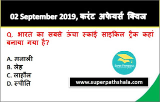 Daily Current Affairs Quiz 02 September 2019 in Hindi