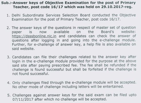 image : DSSSB Notice for Answer Key of PRT (post code 16/17) Exam 29.10.2017 @ TeachMatters