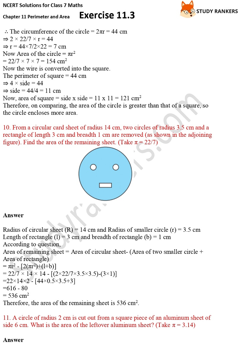 NCERT Solutions for Class 7 Maths Ch 11 Perimeter and Area Exercise 11.3 4