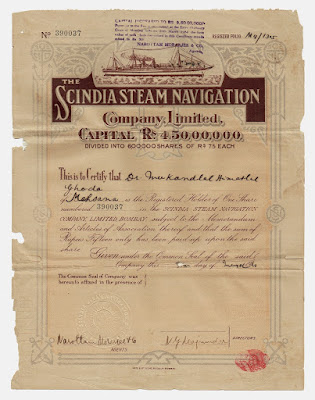 share certificate from The Scindia Steam Navigation Company