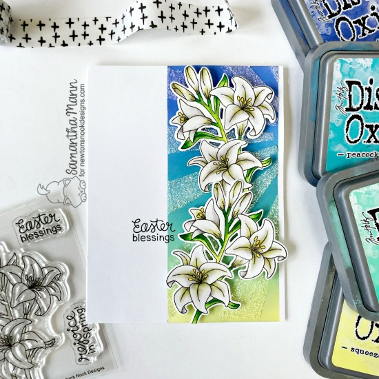 Easter Lily Card by Samantha Mann | Easter Lily Stamp Set and Sunscape Stencil by Newton's Nook Designs #newtonsnook #handmade