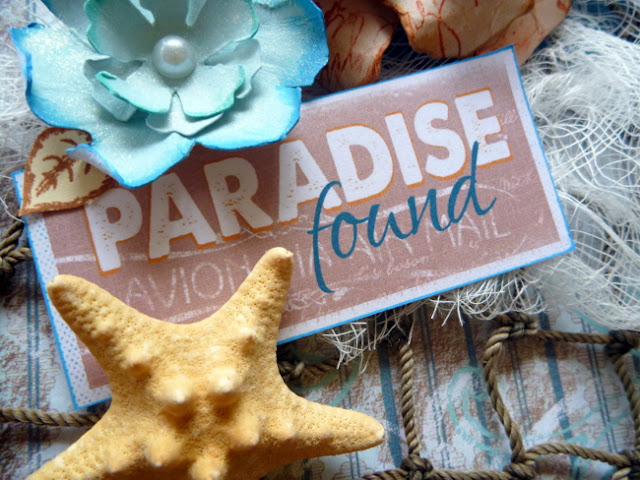 Paradise Found Beach Themed Embellishment Cluster with Flowers and Star Fish by Dana Tatar for Quick Quotes