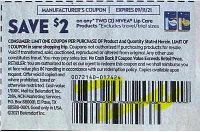 """$2.00/2 Nivea Lip Care Coupon from """"SMARTSOURCE"""" insert week of 8/15/21."""