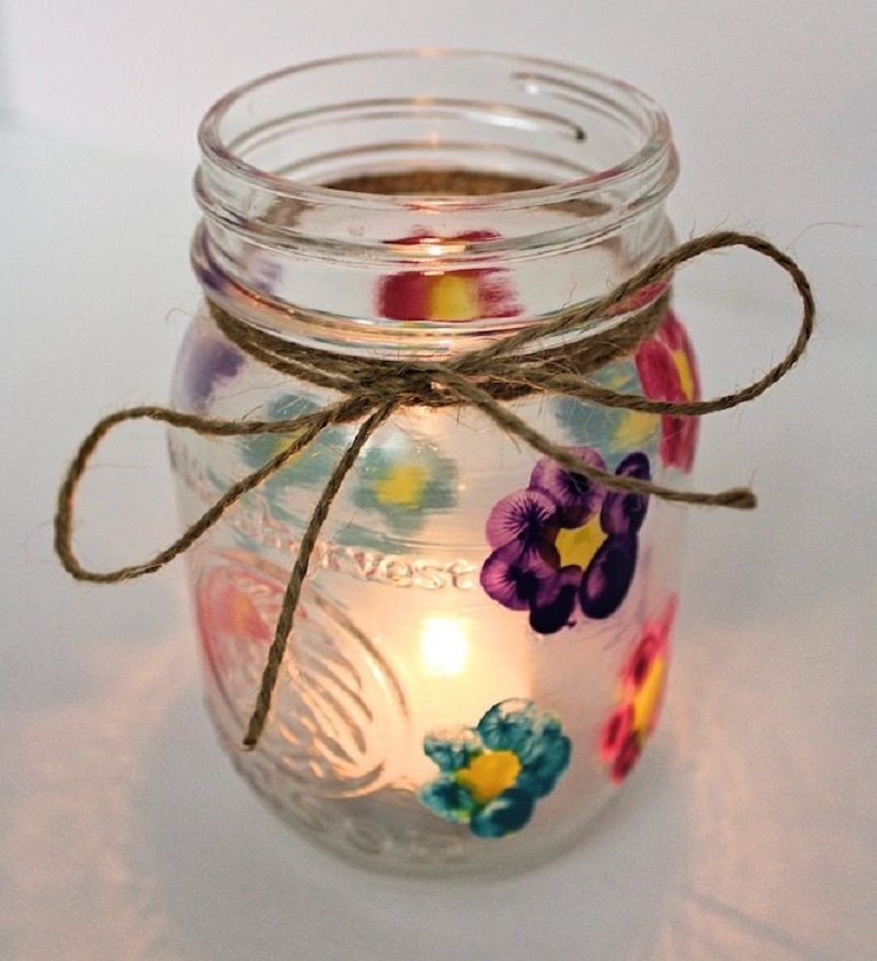 thumbprint mason jar candle holder