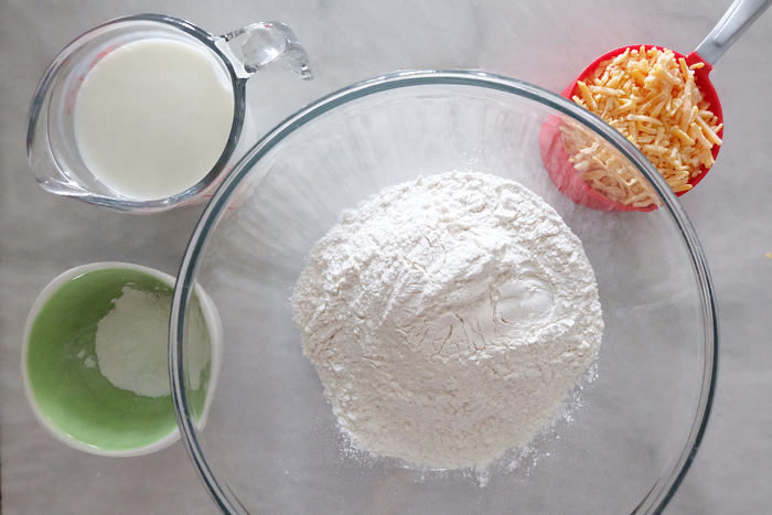 prepped ingredients for cheese buttermilk biscuits