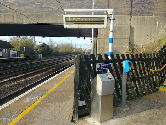 Contactless reader by the stairs on the south-bound platform at Welham Green station  Image by North Mymms News released under Creative Commons BY-NC-SA 4.0