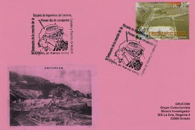 Tarjeta del matasellos PDC del sello dedicado al Puerto del Musel, dentro de la Hoja Bloque dedicada al II Centenario de la Escuela de Ingenieros, Caminos, Canales y Puertos de Madrid.