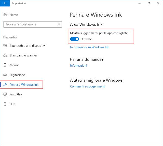 Windows 10, Mostra suggerimenti per le app consigliate
