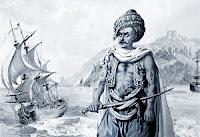 Yüzen bir Osmanlı gemisi önünde elinde kılıcıyla dikilen bir Levent askerini gösteren eski bir çizim