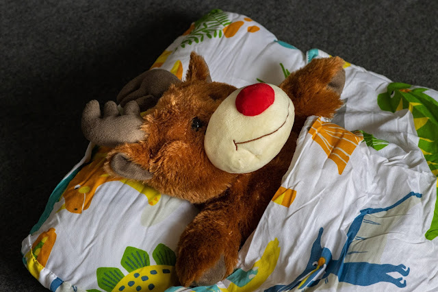 A reindeer teddy in a dinosaur print all in one nap mat