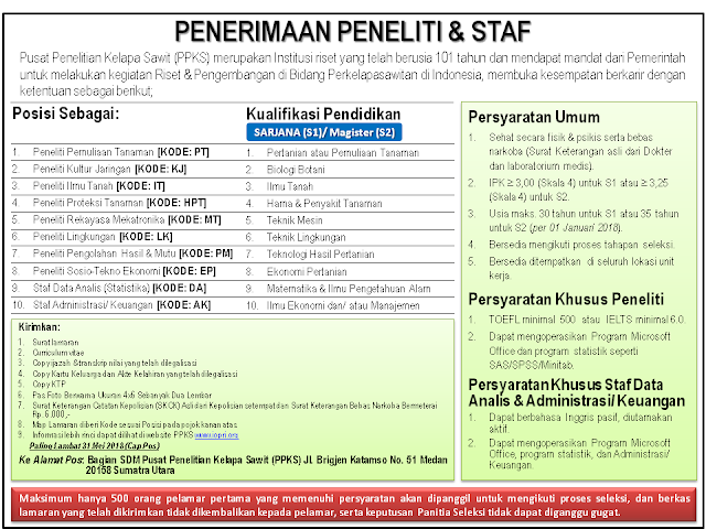 Staf Pada Pusat Penelitian Kelapa Sawit  REKRUTMEN PENELITI DAN STAF PADA PUSAT PENELITIAN KELAPA SAWIT (PPKS) TAHUN 2018