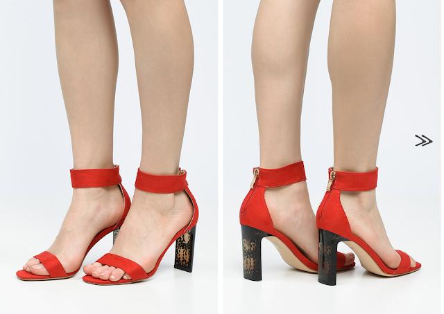 sandale rosii elegante din piele eco intoarsa cu tocul gros