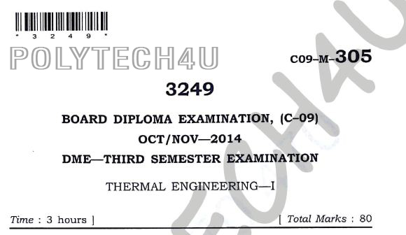 c-09 Dme thermal engineering-1 3rd sem oct/nov-2014