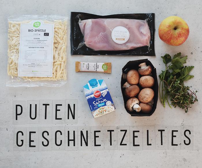 HelloFresh Putengeschnetzeltes mit Spätzle in Apfel-Champignon-Soße
