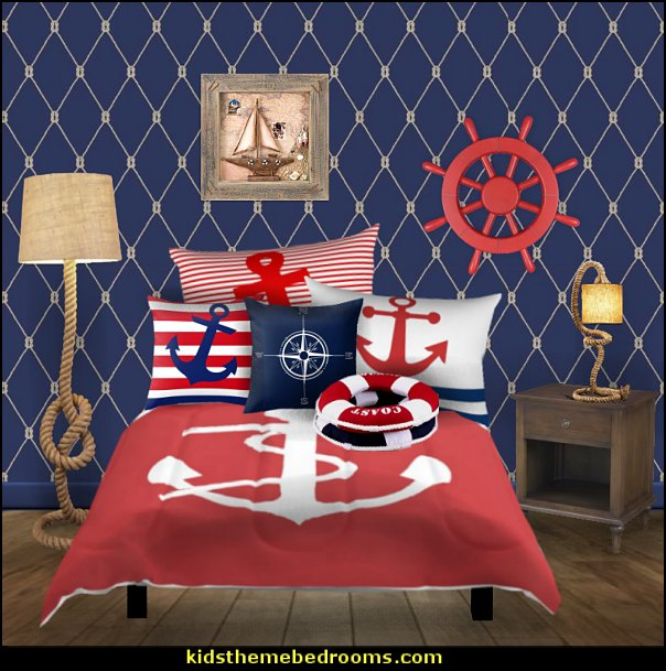 nautical anchors bedroom decorating  nautical bedroom ideas - decorating nautical style bedrooms - nautical decor - sailing ship theme - coastal seaside beach theme - boat beds - beach house decorating -  Travelers and seafarers - nautical bedding - nautical bedroom furniture - compass wall sticker