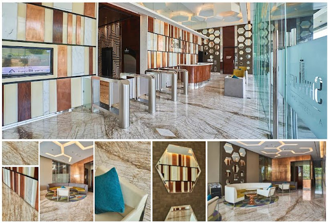 Fagetti - Front Office   Floor : Marble - Golden String | White Wall Décor : Marble - Statuario