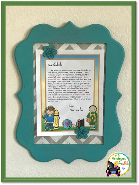 A welcome motivational letter for students or children hung and displaed on a wall