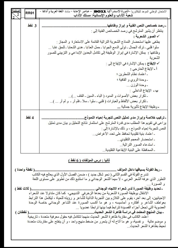 الامتحان الوطني الموحد للباكالوريا / اللغة العربية، مسلك الآداب، الدورة الاستدراكية 2011