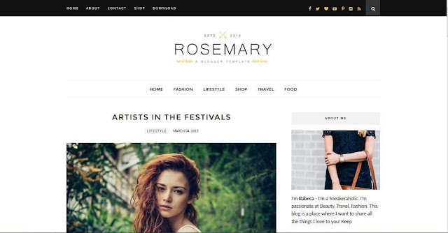 Rosemary - Template Blog Simple Sederhana Gratis