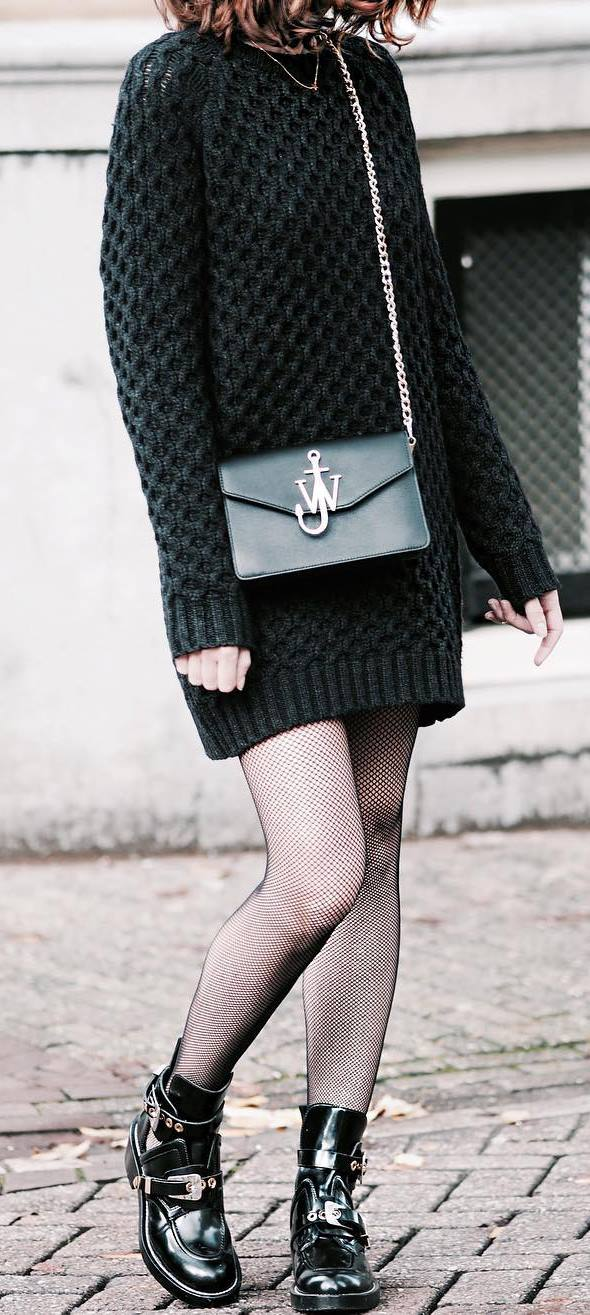 black on black | sweater dress + bag + boots
