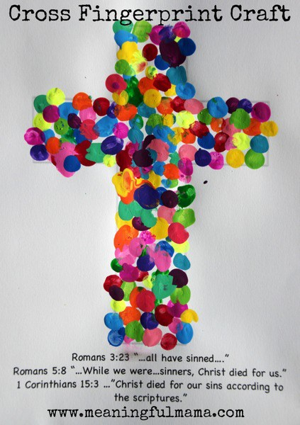 Fingerprint Easter cross craft idea for kids