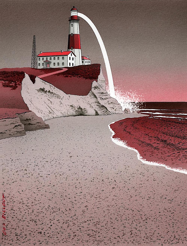 Guy Billout art, a lighthouse