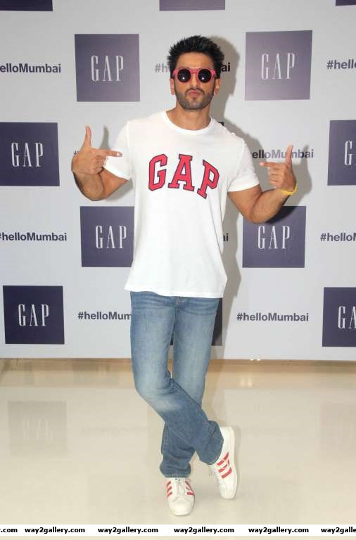 Ranveer Singh poses for photographers during the launch of GAP