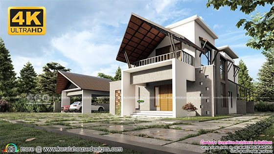 4K size Sharp sloping roof house