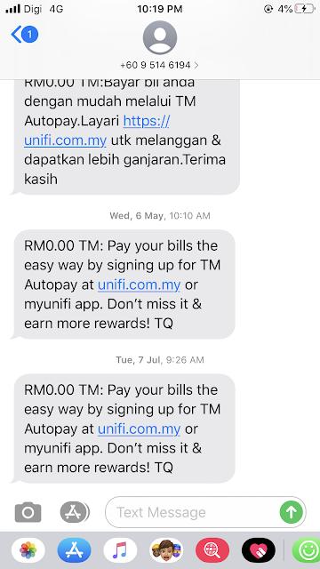 Cara Bayar Bil TM Melalui SMS