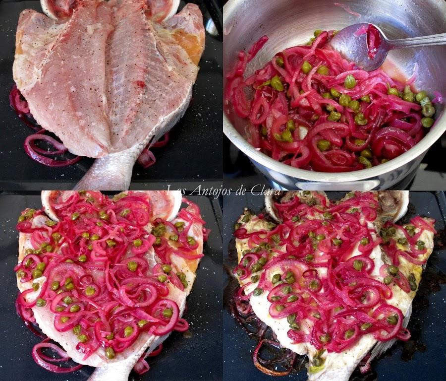 Pescado al horno con cebolla, alcaparras y limón