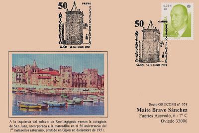 Tarjeta del matasellos del 50 aniversario del Grupo Filatélico y Numismático de Gijón