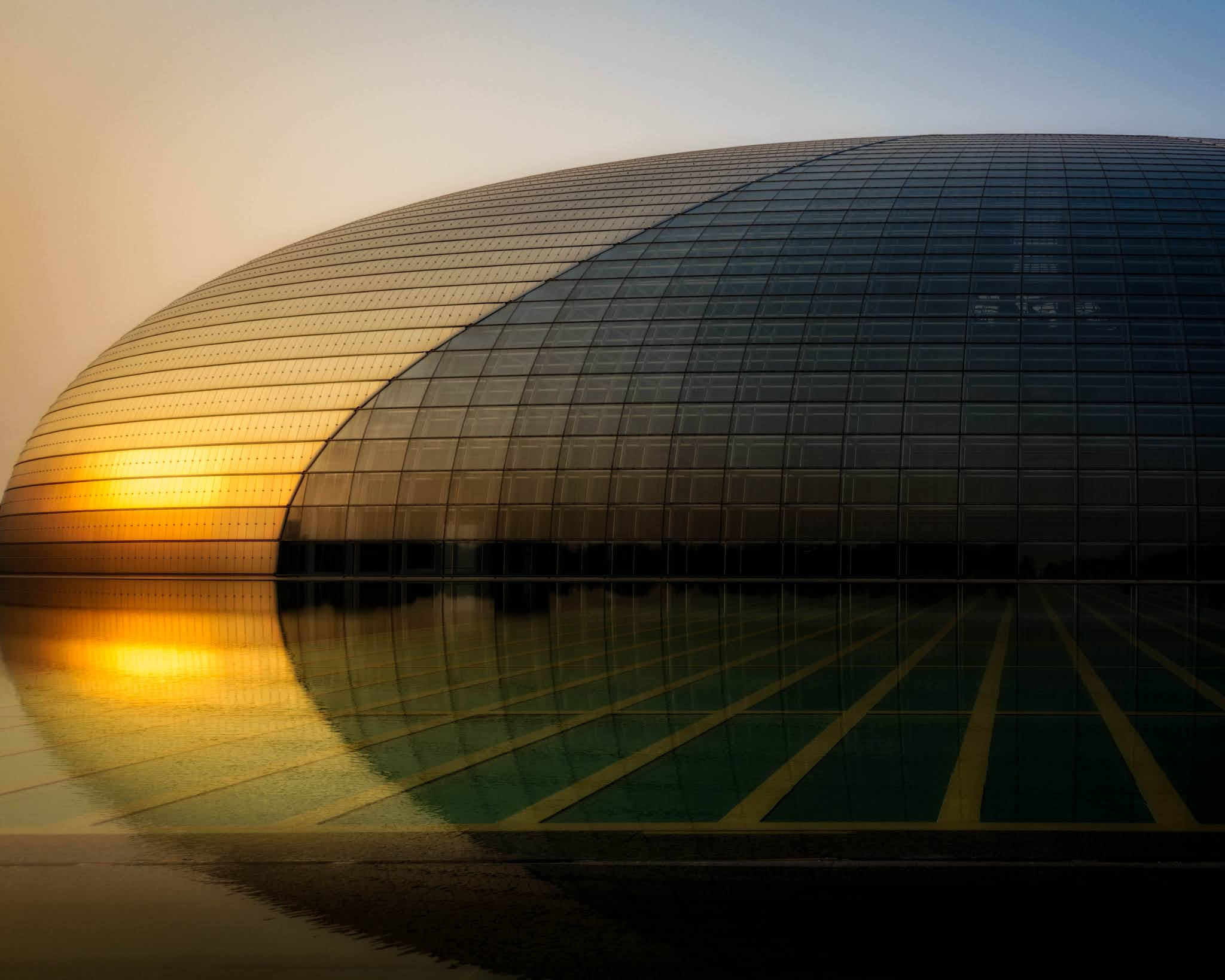 Grande Teatro Nacional da China, um prédio moderno em forma de um ovo gigantesco