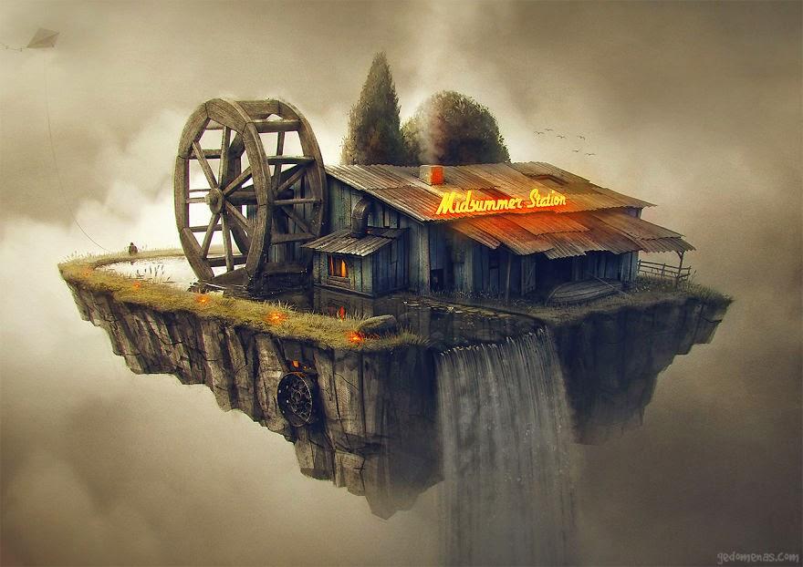 Ilustración con casa y cascada