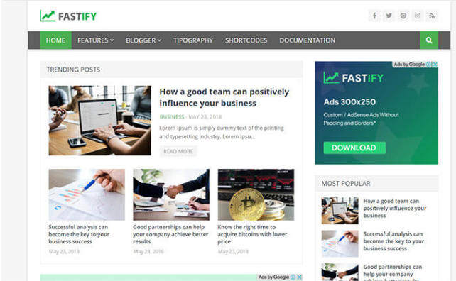 Chia sẻ giao diện Fastify blogger template