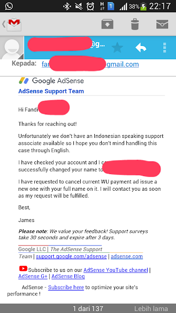 Masalah Gagal Pembayaran AdSense Nama Tidak Sesuai KTP