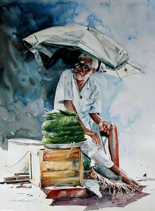 "Indian Watercolor Artist- ""Rajkumar Sthabathy"" 1975"