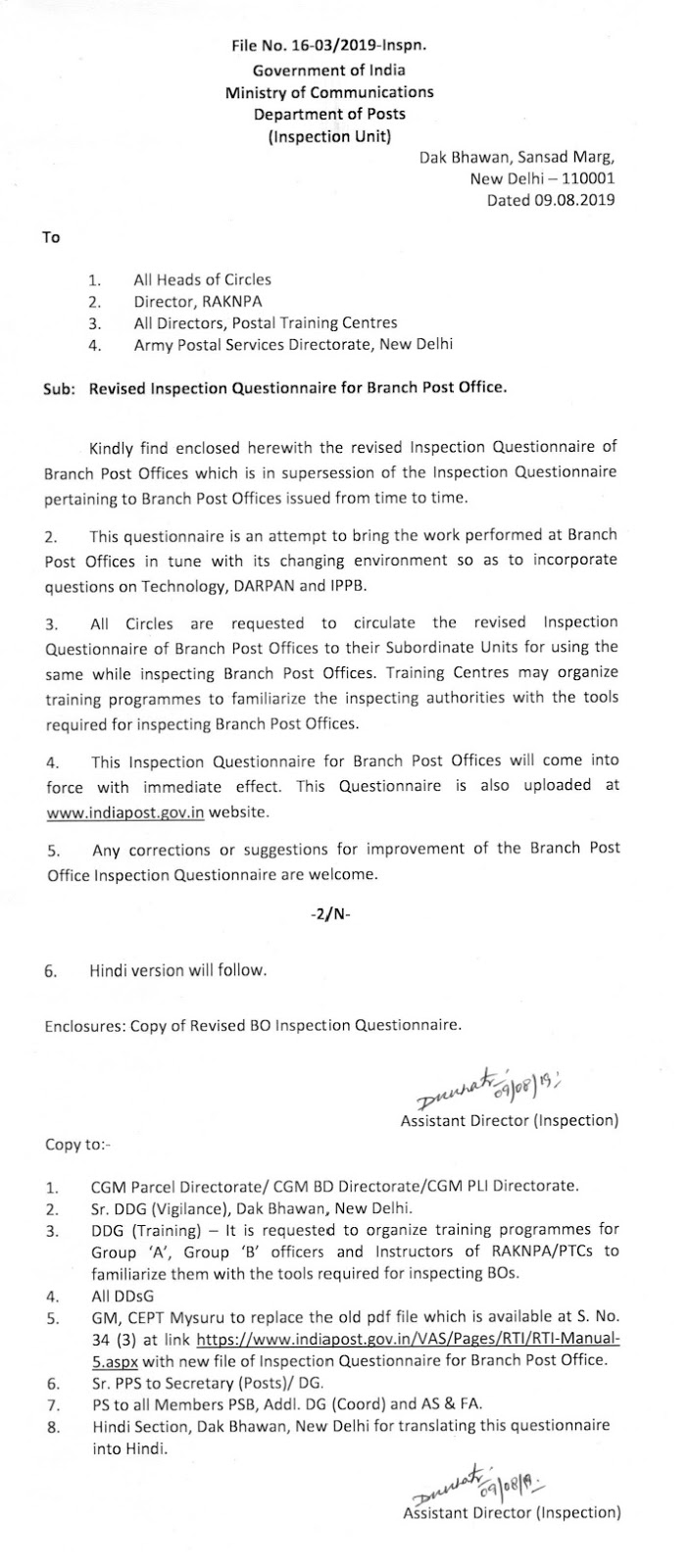 Revised Inspection Questionnaire for Branch Post Office