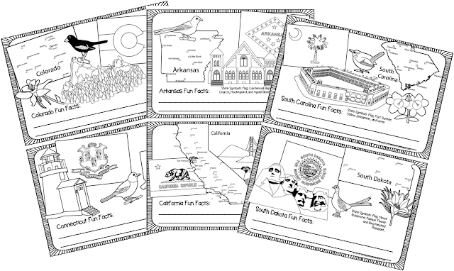 US State Worksheets - state flag, state map, state landmark, state flower, state bird