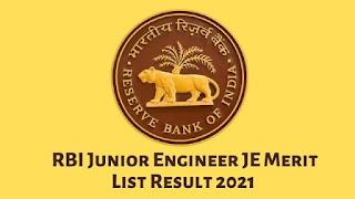 RBI Junior Engineer JE Merit List Result 2021