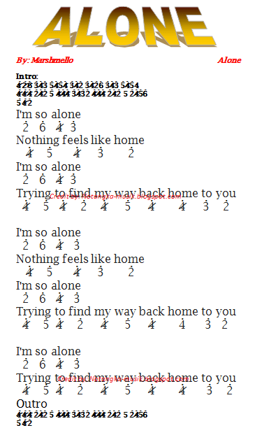 ini sekarang ini bisa kamu mainkan pada pianika  Alone - Marshmello