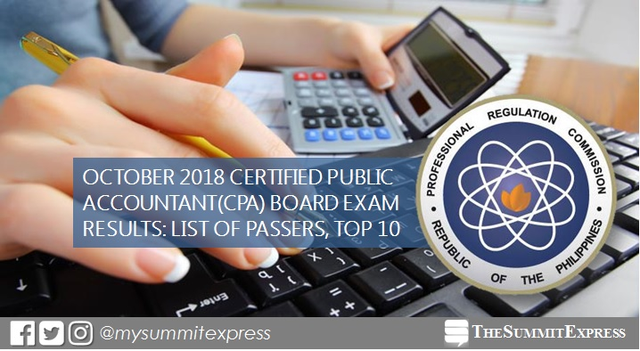 FULL RESULTS: October 2018 CPA board exam list of passers, top 10