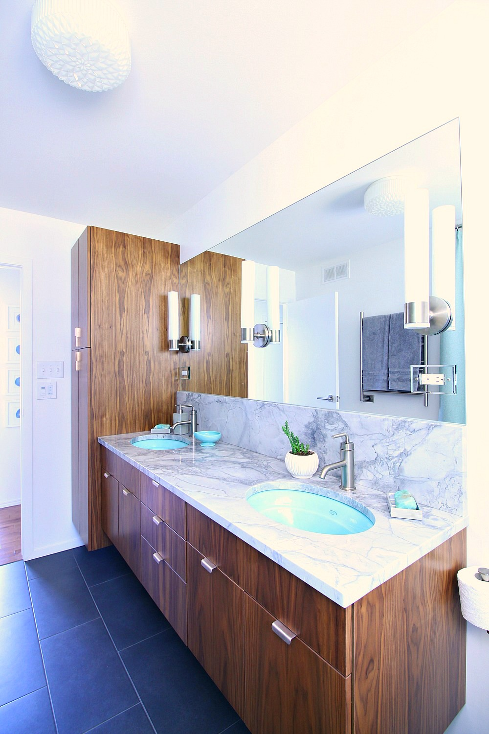 mid century modern inspired bathroom renovation before after floating walnut vanity - Bathroom Cabinets Before And After